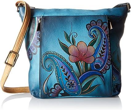 Genuine Leather Anna by Anuschka Organizer Handbag Denim Paisley Floral