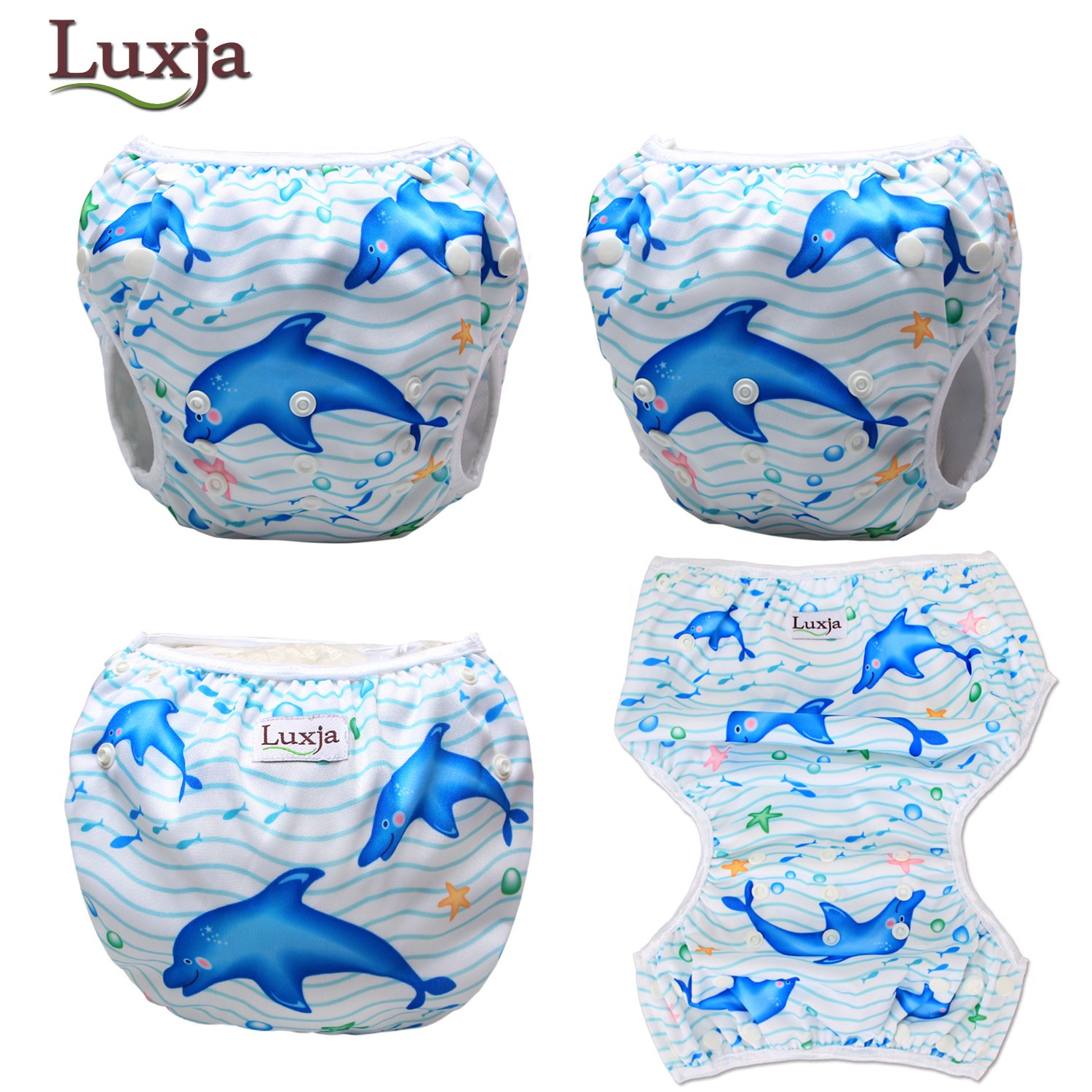 Shell + Blue Fish Pack of 2 Adjustable Swimming Diaper for Baby 0-3 Years LUXJA Reusable Swim Diaper