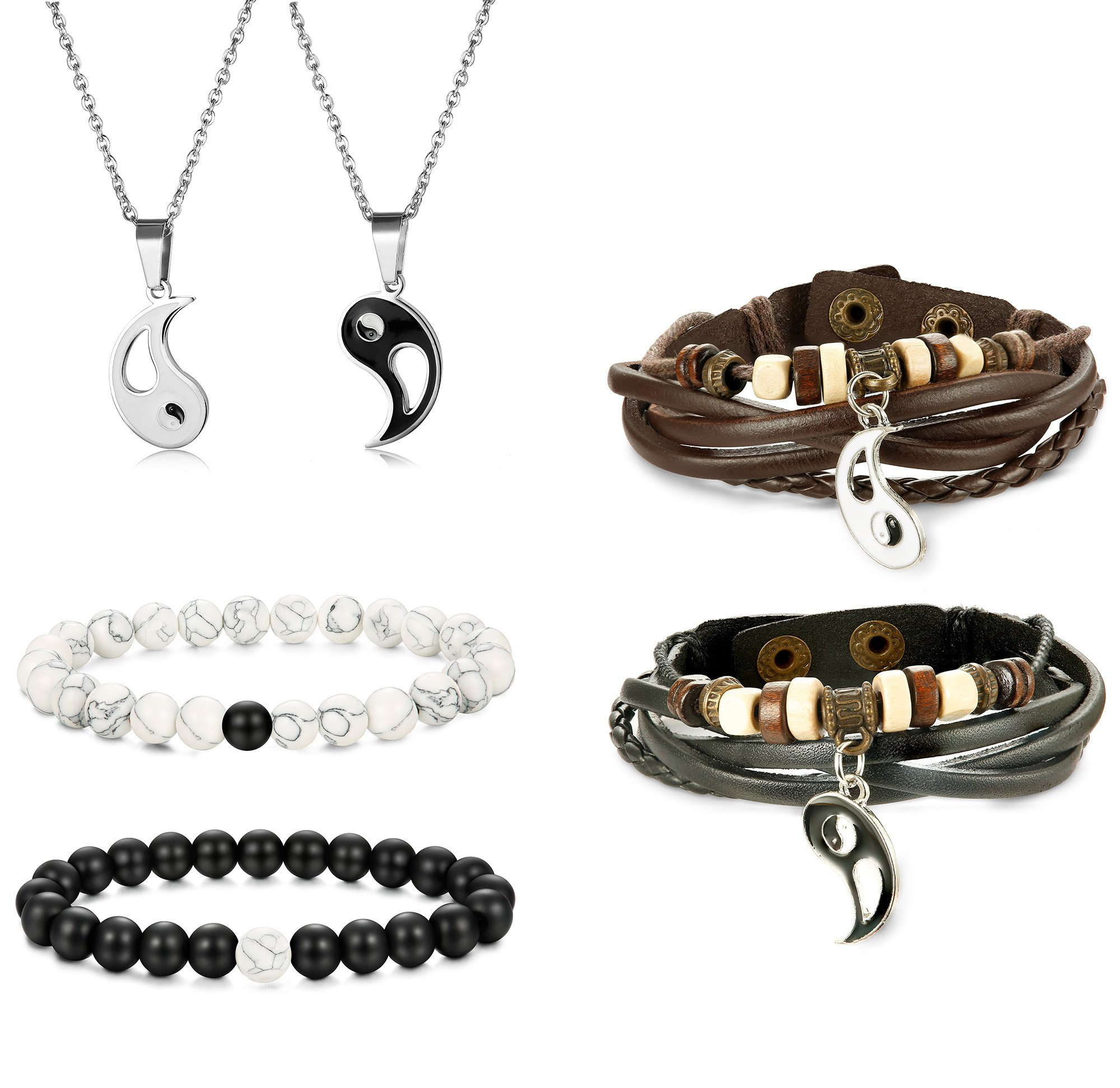 Jstyle Yin Yang Couples Necklace Bracelets for Women Mens Distance Leather Beaded Bracelet Adjustable 3Sets by Jstyle (Image #1)