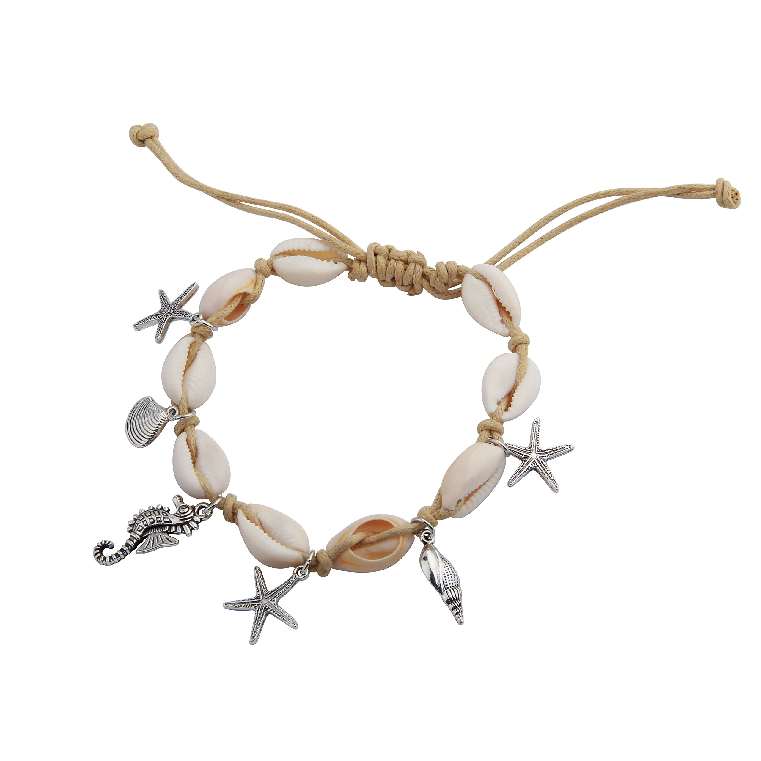 RQIER Starfish Charm and Shell Charm Anklet Bracelet Barefoot Sandals Beach Foot Jewelry(BIG Shell)