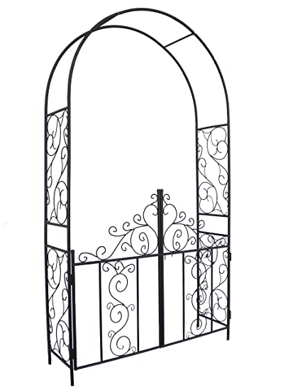 Amazoncom HIO Metal Garden Arch and Gate Brown 42Wide x 75
