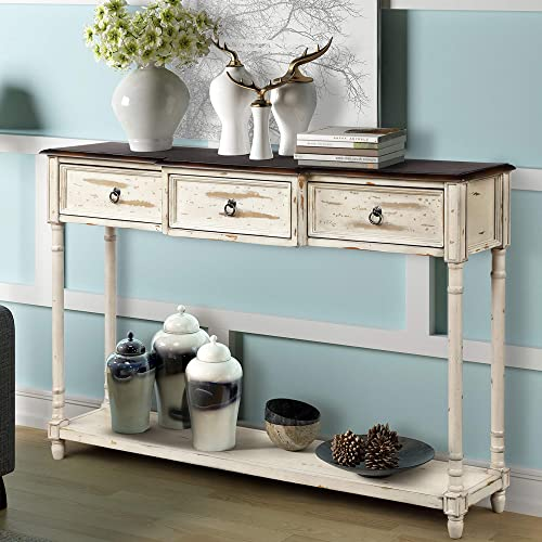 Console Table Sideboard Table with 3 Drawers Luxurious and Exquisite Design for Entryway with Projecting Drawers and Long Shelf Distressed Beige