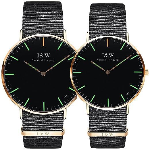 Relojes de Lujo para Parejas, Impermeables, Ultra Finos, de Nailon Luminoso, de