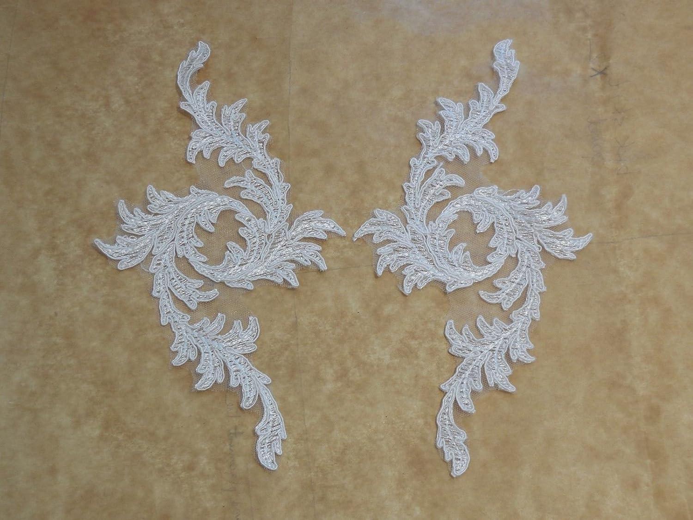 1 pezzo motivo floreale con ricami in pizzo Applique da sposa in pizzo