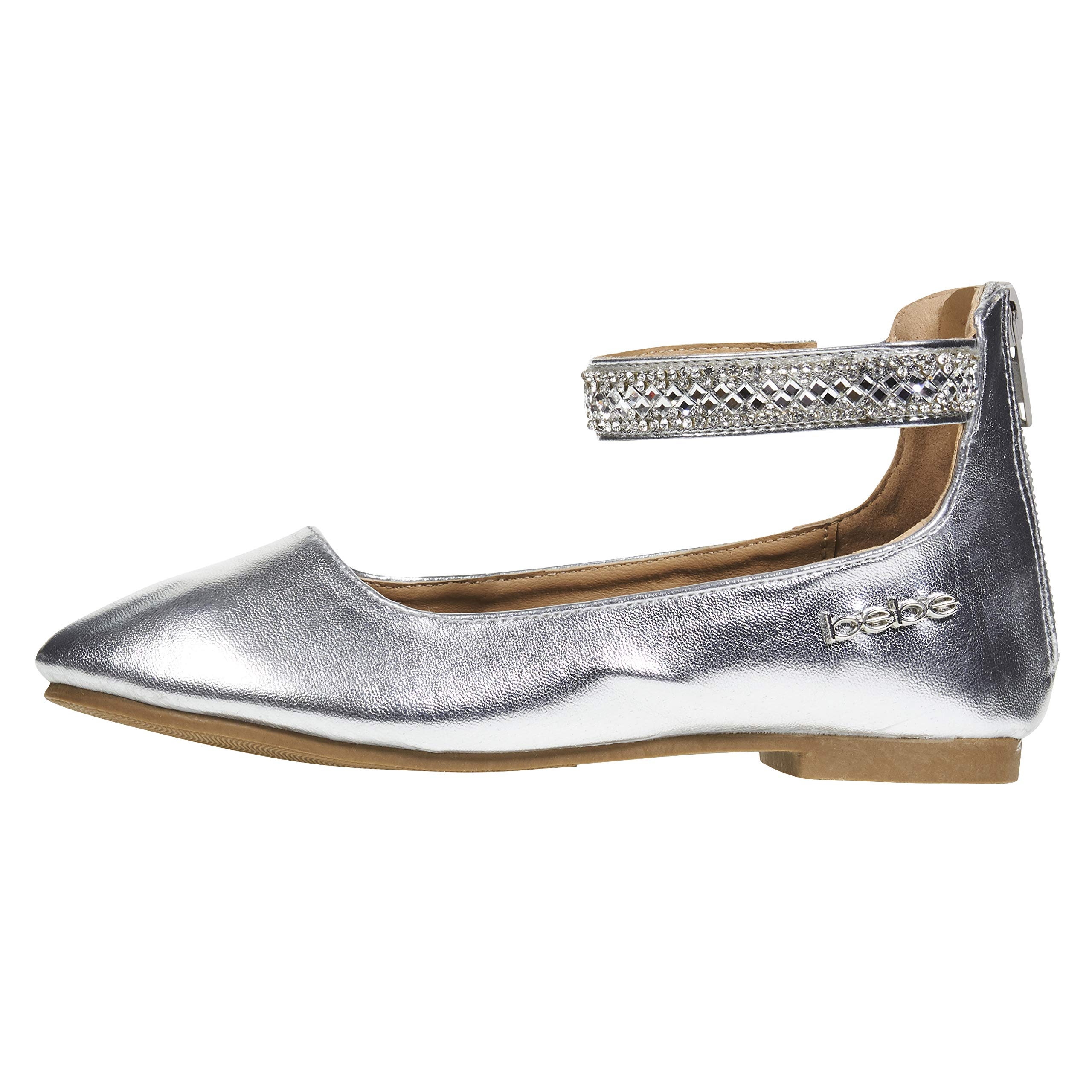 bebe Girls Flats Size 4 with Rhinestone Ankle Straps PU Leather Mary Jane Sandals Silver