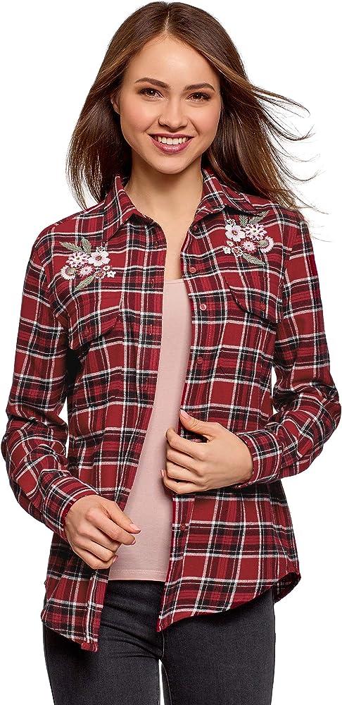 oodji Ultra Mujer Camisa a Cuadros con Bordado, Rojo, ES 38 / S: Amazon.es: Ropa y accesorios
