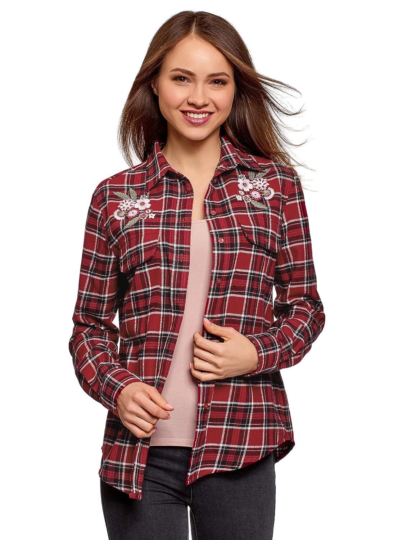 Aibrou Camicia Quadri Donna di Flanella Manica Lunga Classici Bluse Casual Elegante Stile di Boyfriend Shirt Top