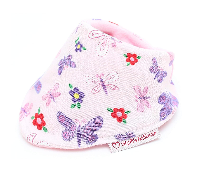 Steffis N/ähkiste Verstellbares Dreieckstuch rosa Schmetterling mit w/ärmenden Fleece