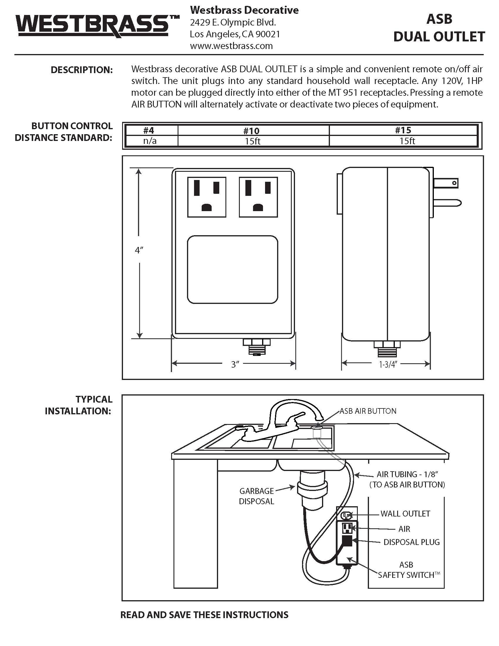 Westbrass RASB-2B3-05 Flush Button Air Switch & Dual Outlet Box, Polished Nickel by Westbrass (Image #4)