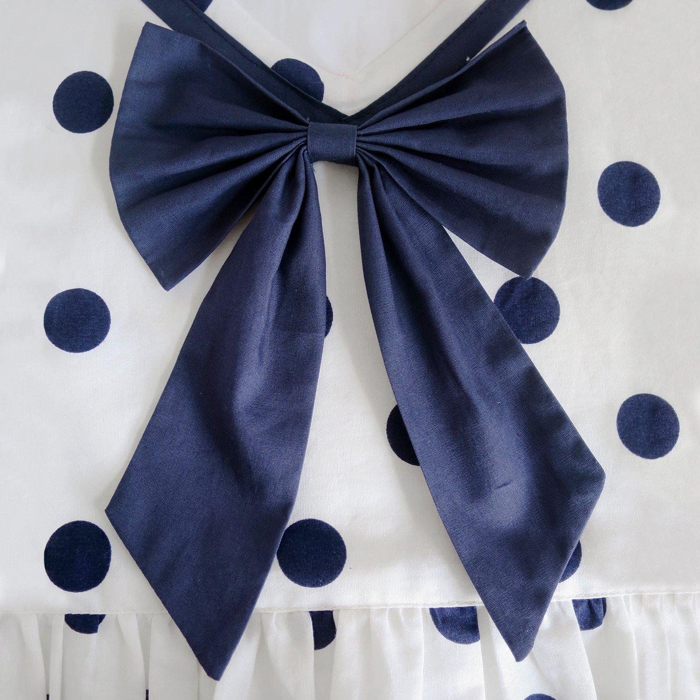 Sunny Fashion Vestito Bambina Marina Militare Blu Punto Cravatta a Farfalla Back School Uniforme 5-12 Anni