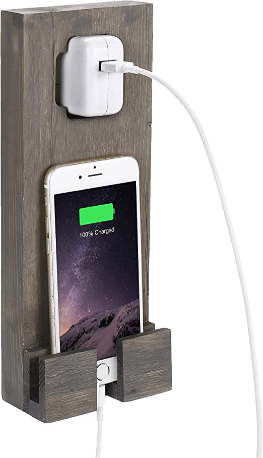 MyGift de madera pared socket-hanging Smartphone Base dock de ...