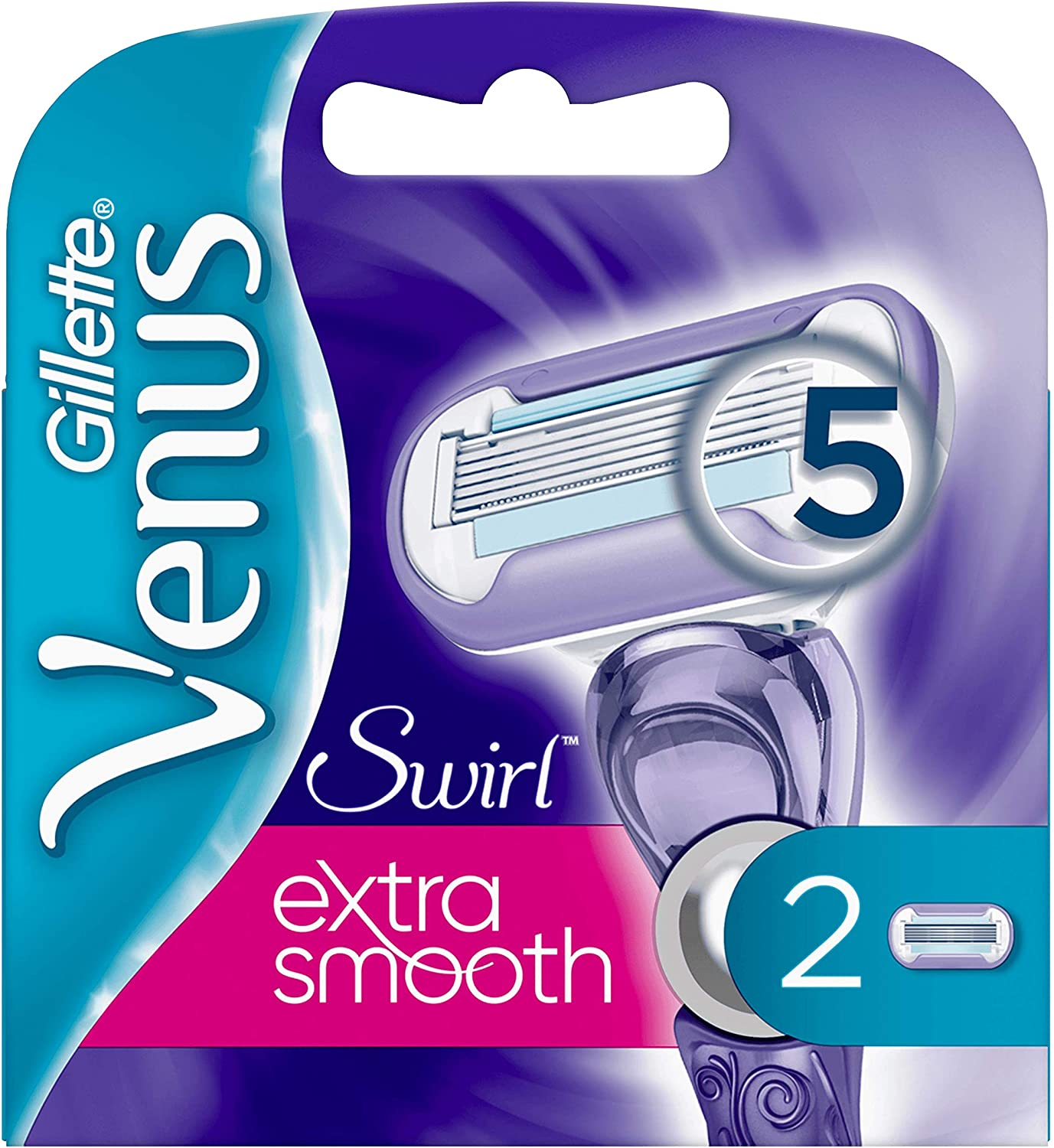 Gillette Venus Swirl Extra Smooth Women's Shaver 2 Refills with 5 DLC-Coated Blades