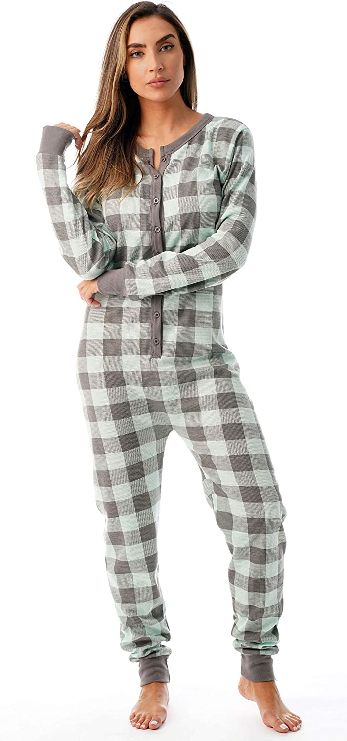 #followme Womens Henley Thermal Onesie Buffalo Plaid and Tie Dye