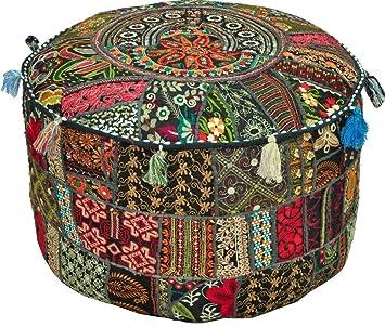 Jaipurhandloom Black Indian Pouf Stool Vintage Patchwork Embellished With Patchwork Living Room Ottoman Cover 46