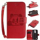 LG K7 Custodia,Cozy Hut Panda PU Pelle Creative Ultraslim Book Style Custodia Portafoglio Cover Case in PU Cuoio per LG K7, Flip protettivo Wallet Caso copertina con funzione di supporto e chiusura magnetica - Panda rosso