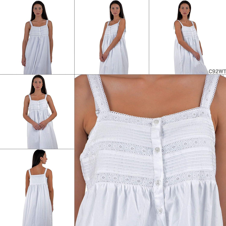 Cotton Lane Cousu Main 100/% Coton Taille Plus Chemise De Nuit Tailles UK 8 /À 38 Orn/é De Dentelle Et Pin-Pliss/és