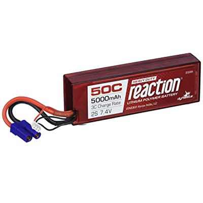 Dynamite B3810EC Reaction HD 7.4V 5000mAh 2S 50C LiPo Hard Case: Toys & Games