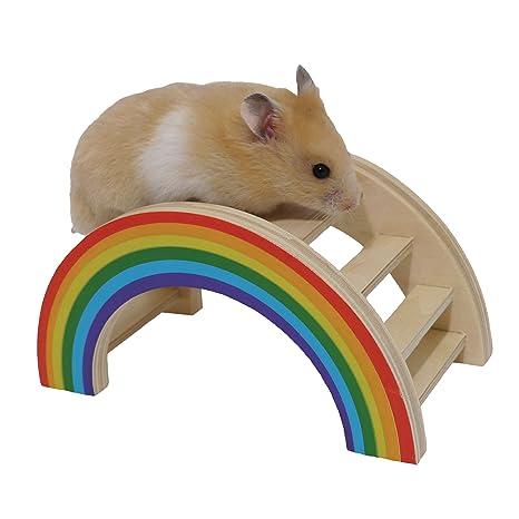 Rosewood Puente de juguete para entretener animales pequeños con dibujo de arcoíris