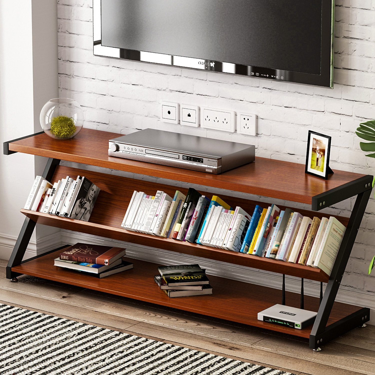 TV Stand, LITTLE TREE 60'' Large Entertainment Center with Bookshelf and Bookcase, 3-Tier Wide Media Storage Console Metal Television Table/TV Unit/TV Bench/TV Cabinet for Living Room Apartment, Cherry