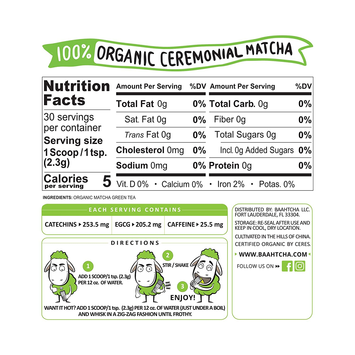 Amazon.com : Baahtcha - USDA Organic Matcha Green Tea Powder ...
