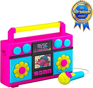 Trolls World Tour Sing Along Boombox with Microphone, Built in Music, Flashing Lights, Real Working Mic for Kids Karaoke Machine, Connects Mp3 Player Aux in Audio Device