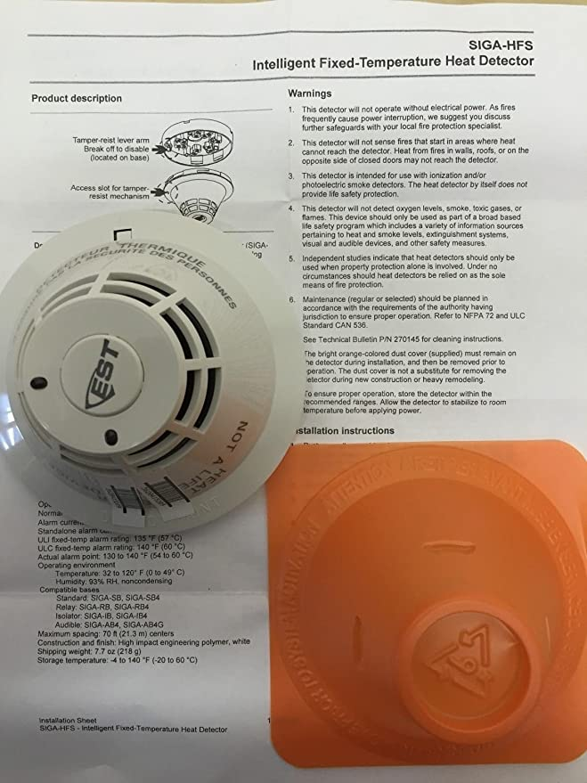 Edwards SIGA-HFS - Intelligent Heat Detector Fixed Temp 135F ...