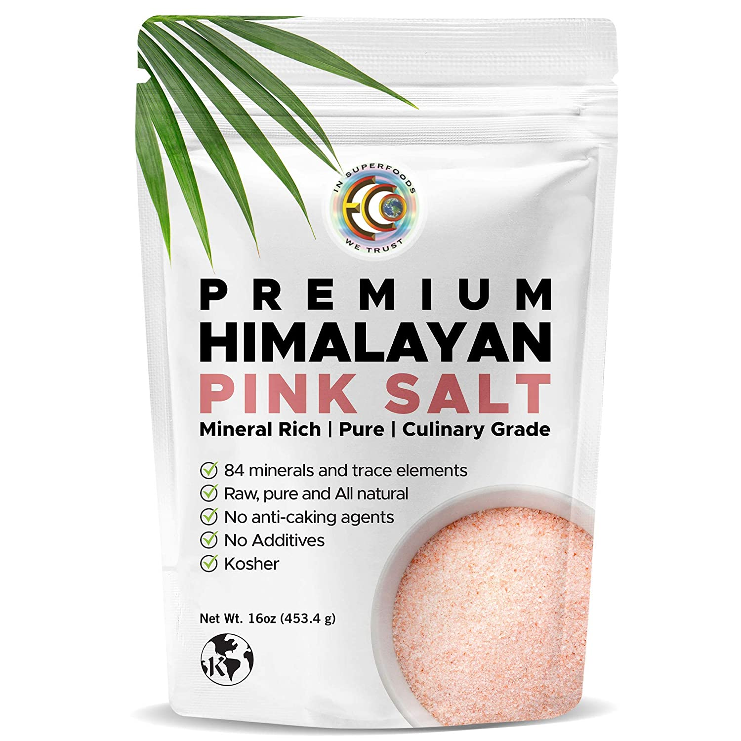 Earth Circle Organics Premium Himalayan Pink Fine Grain Salt, No Anti-Caking Agents, Pure Culinary Grade - Kosher, Nutrient and Mineral Dense, 1 Pound : Rock Salt : Grocery & Gourmet Food