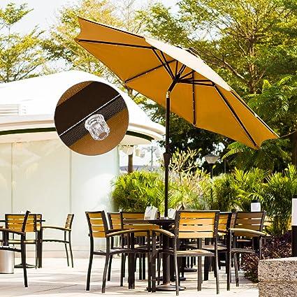 Ollieroo Outdoor Solar Powered 32 LED Lighted Patio Umbrella Tilt Beige  Aluminum 9FT Market Umbrella With