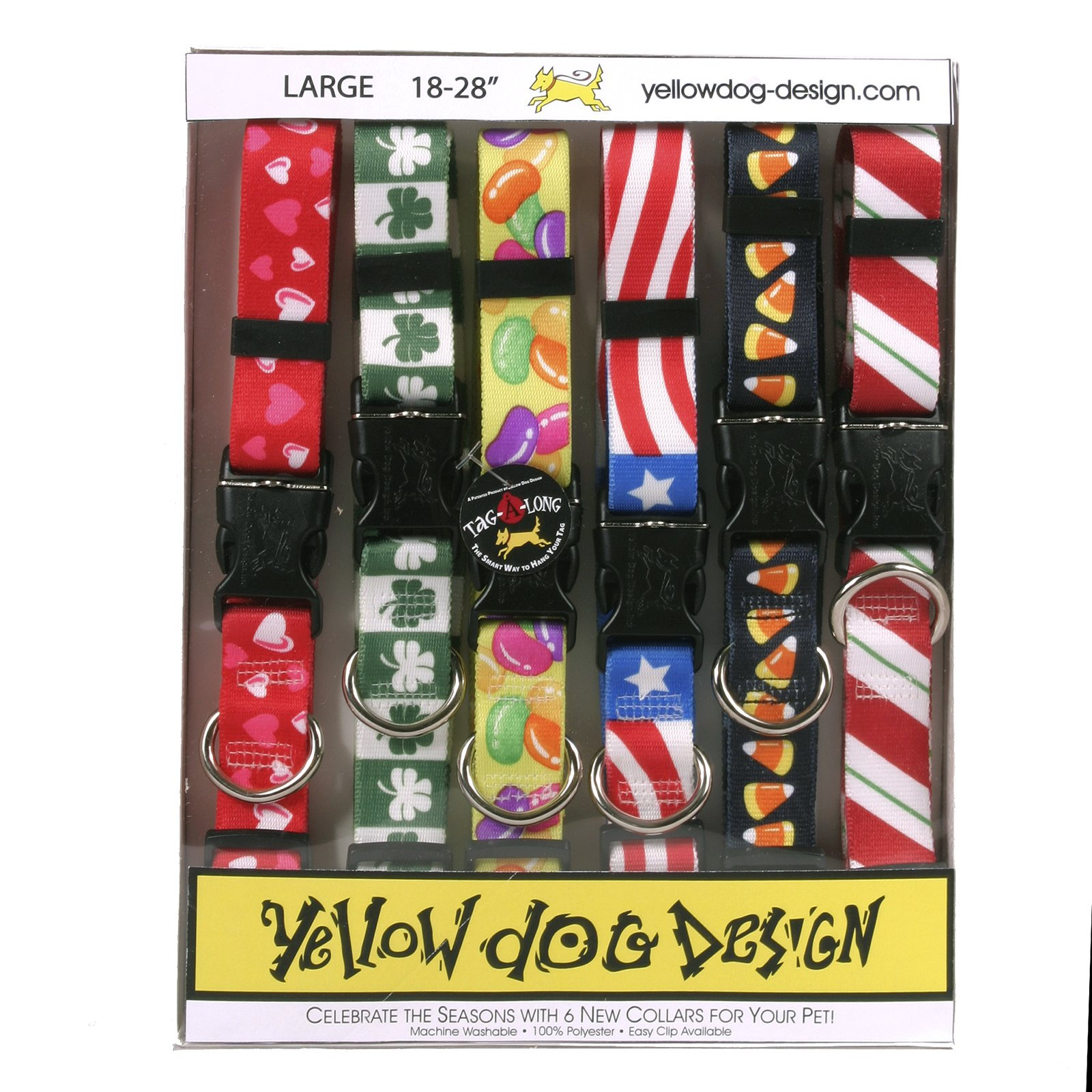 Yellow Dog Design Seasonal Dog Collar Calendar Pack with Tag-A-Long-Size Large-1'' Wide and fits Neck 18 to 28'' by Yellow Dog Design