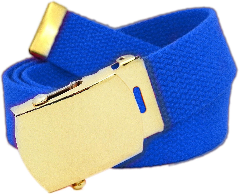 Classic Gold Mens Military Slider Belt Buckle with Canvas Web Belt Medium Royal Blue
