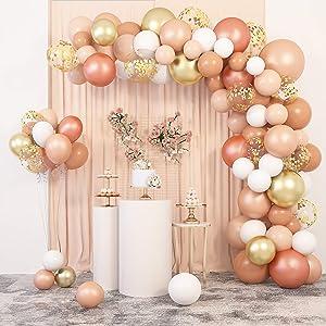 129 Pcs Blush Balloons Garland Arch Kit 12