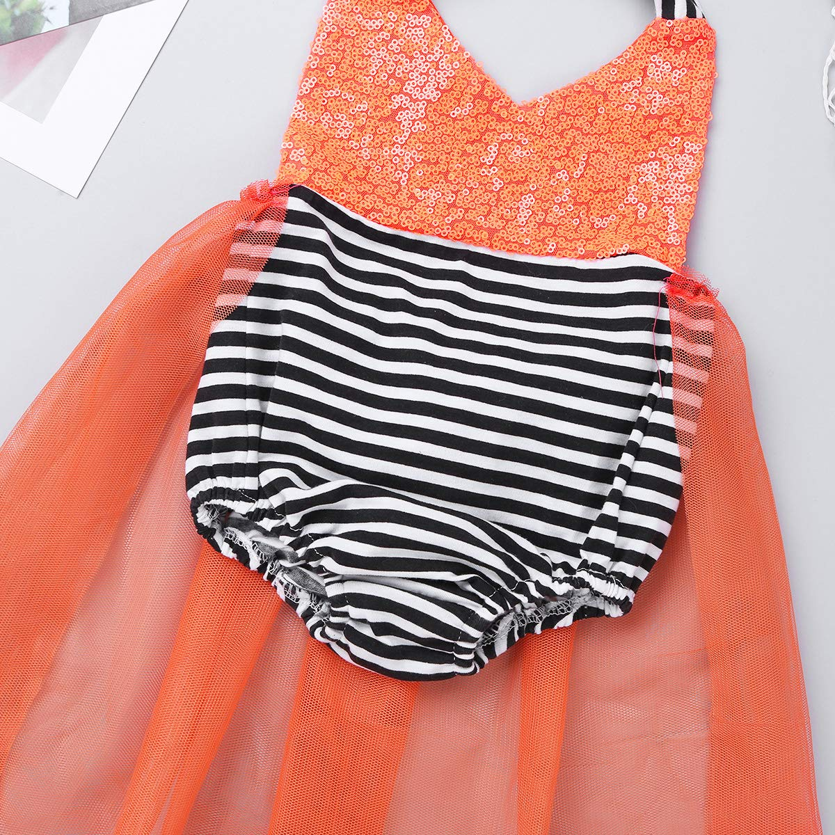 ACSUSS Infant Baby Girls Sequin Mermaid Princess Fancy Dress Up Halloween Cosplay Costume Baby Halter Romper Tutu Dress