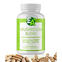 6 Mushroom Powder Blend Supplement - 1000mg Capsules with Cordyceps, Lions Mane,...