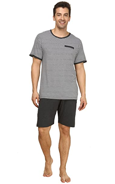 Suntasty Pijama Ropa de Dormir para Hombre Hombre del Pijama Conjunto(Grey,S,