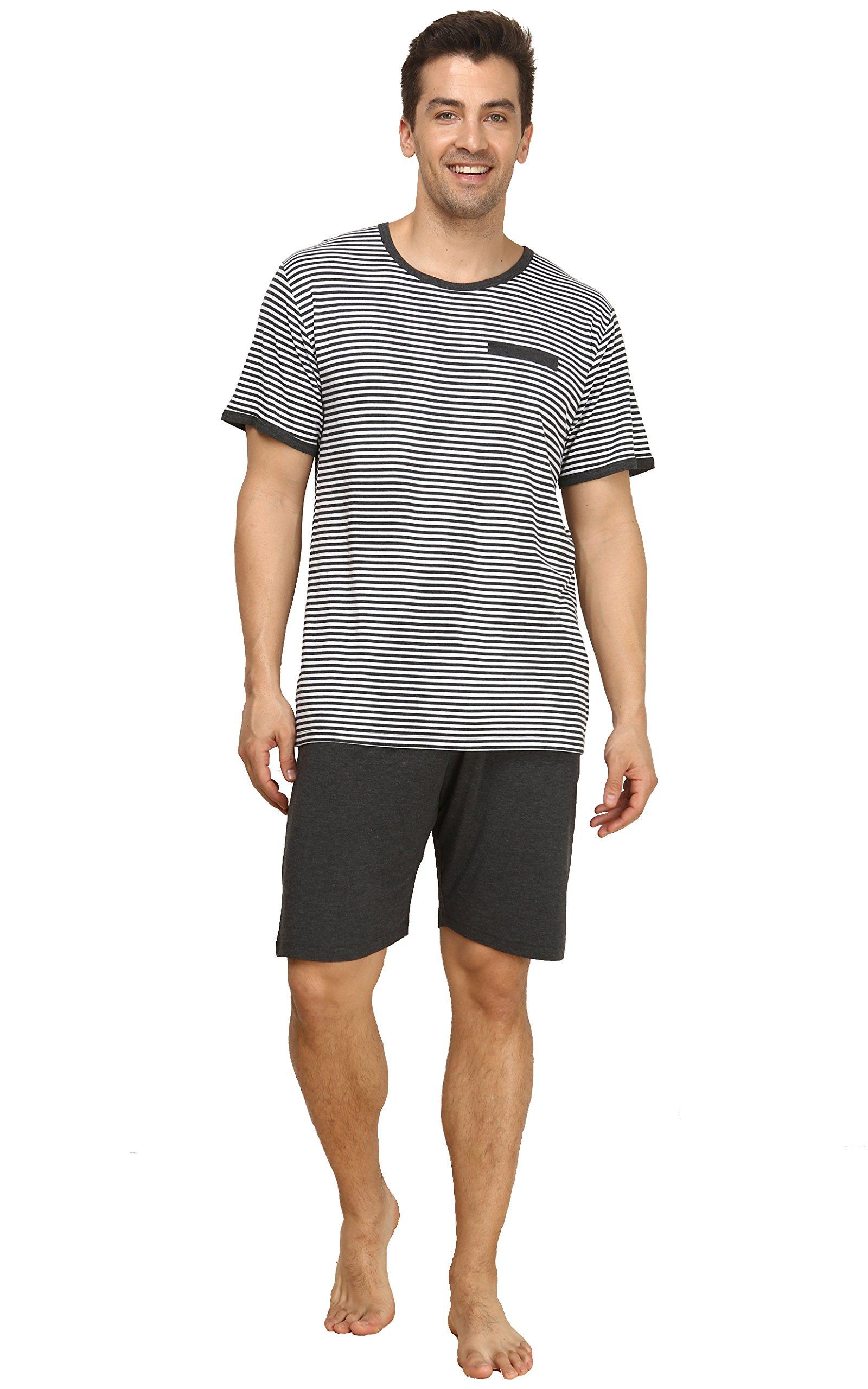 Suntasty Men's Summer Sleepwear Striped Short Sleeve Pajama Shorts and Top Set(Grey,S,1004M)