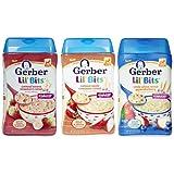 Gerber Lil' Bits Baby Cereal 3 Flavor Variety Bundle: (1) Lil' Bits Oatmeal Banana Strawberry, (1) Lil' Bits Whole Wheat Cereal Apple Blueberry, (1) Lil' Bits Oatmeal Apple Cinnamon Cereal, 8 Oz. Each (3 Cereal Boxes)