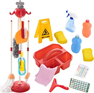 Detachable Housekeeping Cleaning Pretend Play Toy Set for kids, 18 Pieces Household cleaning tools Hanging stand, Wet Floor Sign and multiple cleaning tools Housekeeping Toys for Toddlers and kids