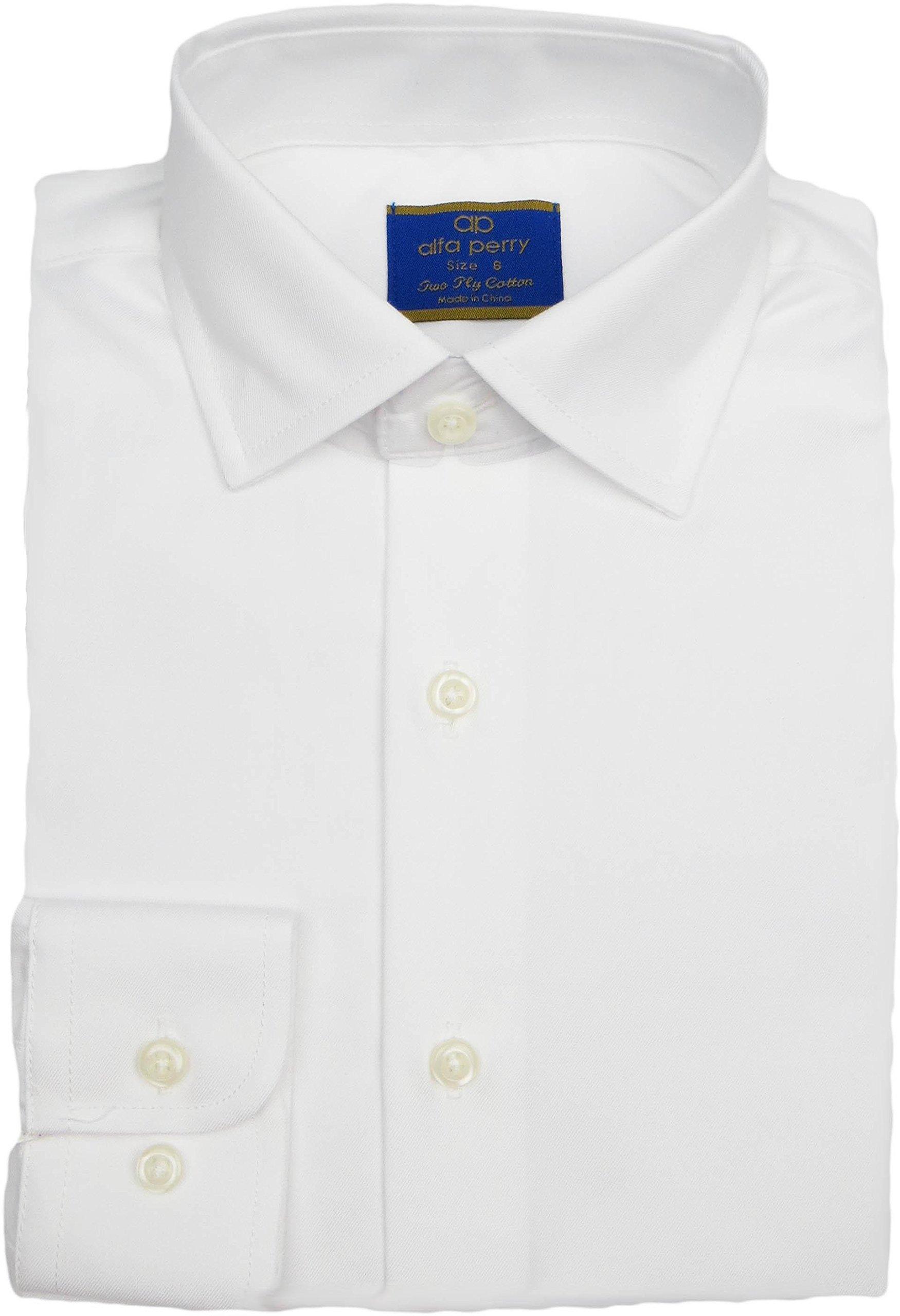 alfa perry Boys Solid White Long Sleeve Dress Shirt - APSHB-SL7-BC - White, 6 Slim