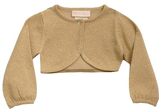 dfe4958e5 Amazon.com  Bonnie Jean Girls 7-16 METALLIC GOLD KNIT BOLERO Sweater ...