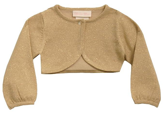 Amazoncom Bonnie Jean Girls 7 16 Metallic Gold Knit Bolero Sweater