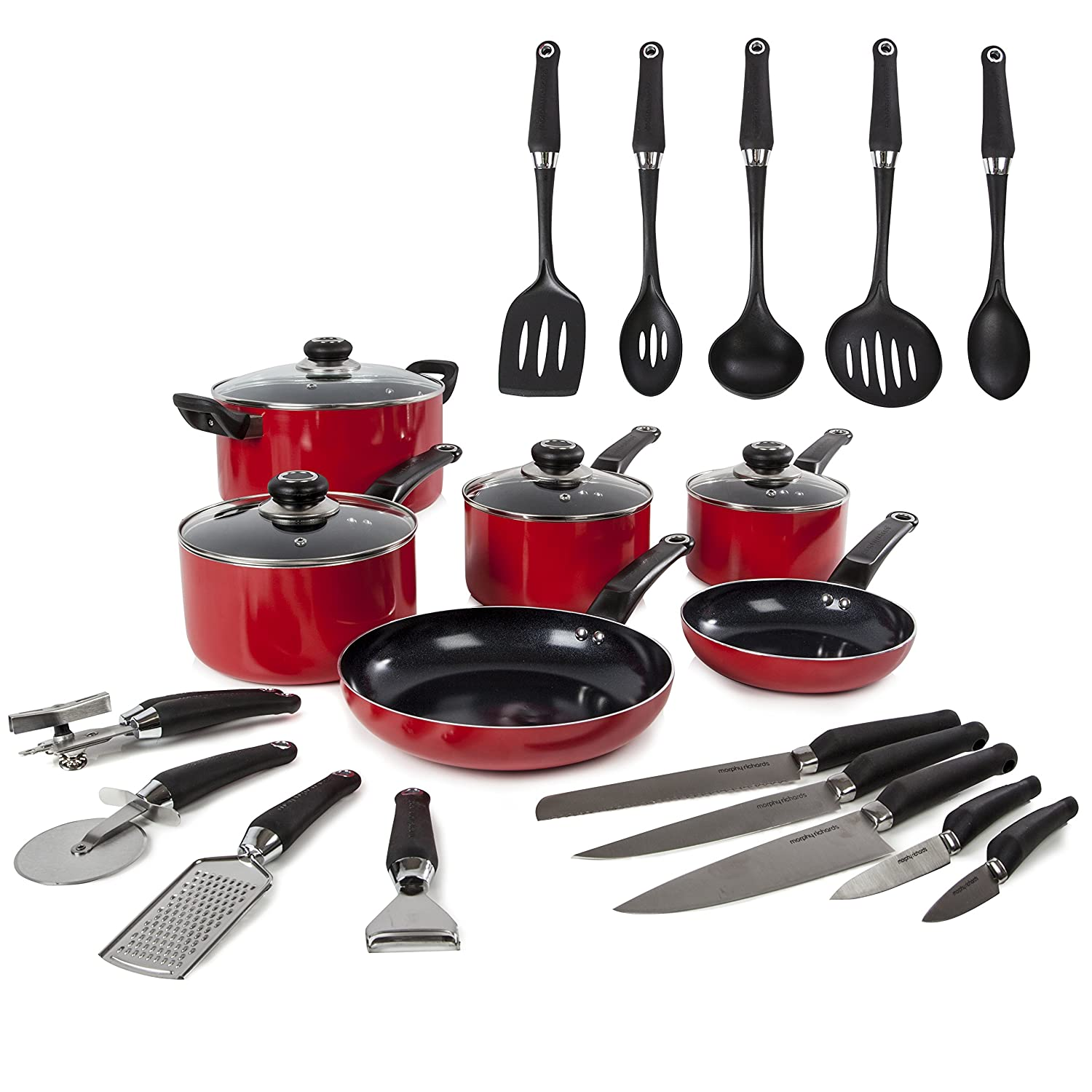 Morphy Richards Equip 6 Piece Pan Set with 14 Piece Tool Set - Red 970051