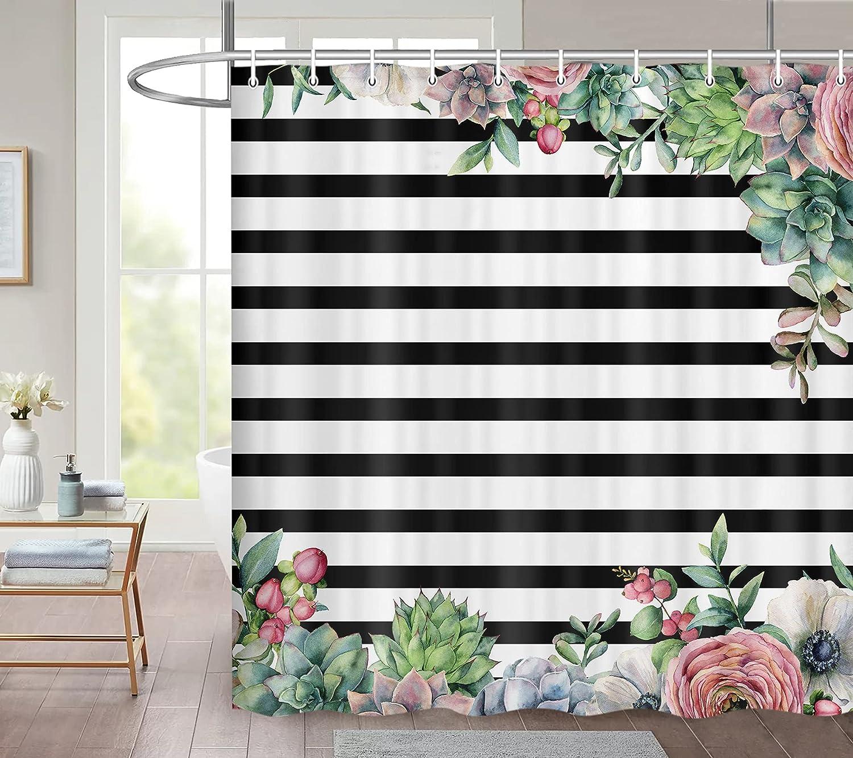 JAWO Black and White Stripe Flolar Shower Curtain, Colorful Cactus Flower Succulent Plant Bathroom Bathtub Decor Waterproof Fabric Bath Curtains Set with Hooks