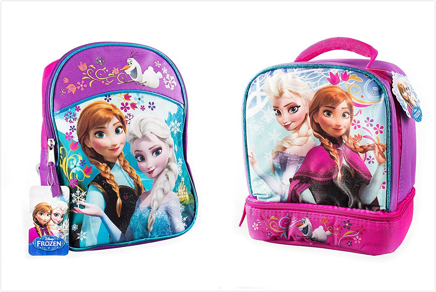 f80d28462f7 Amazon.com  Disney Frozen Backpack Princess Elsa   Anna 16   with a Lunch  Bag 9.5   Set  Toys   Games