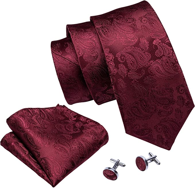 Barry.Wang Designer - Juego de corbata, pañuelo cuadrado para ...