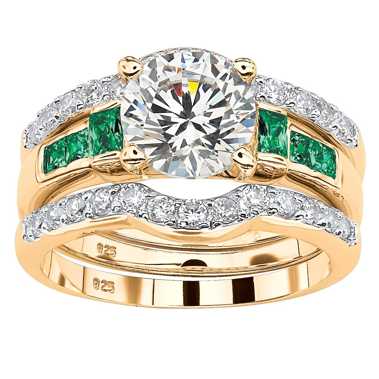 Palm Beach Jewelry Round White Cubic Zirconia and Green Crystal 18k Gold over .925 Silver 3-Piece Bridal Ring Set Size 6