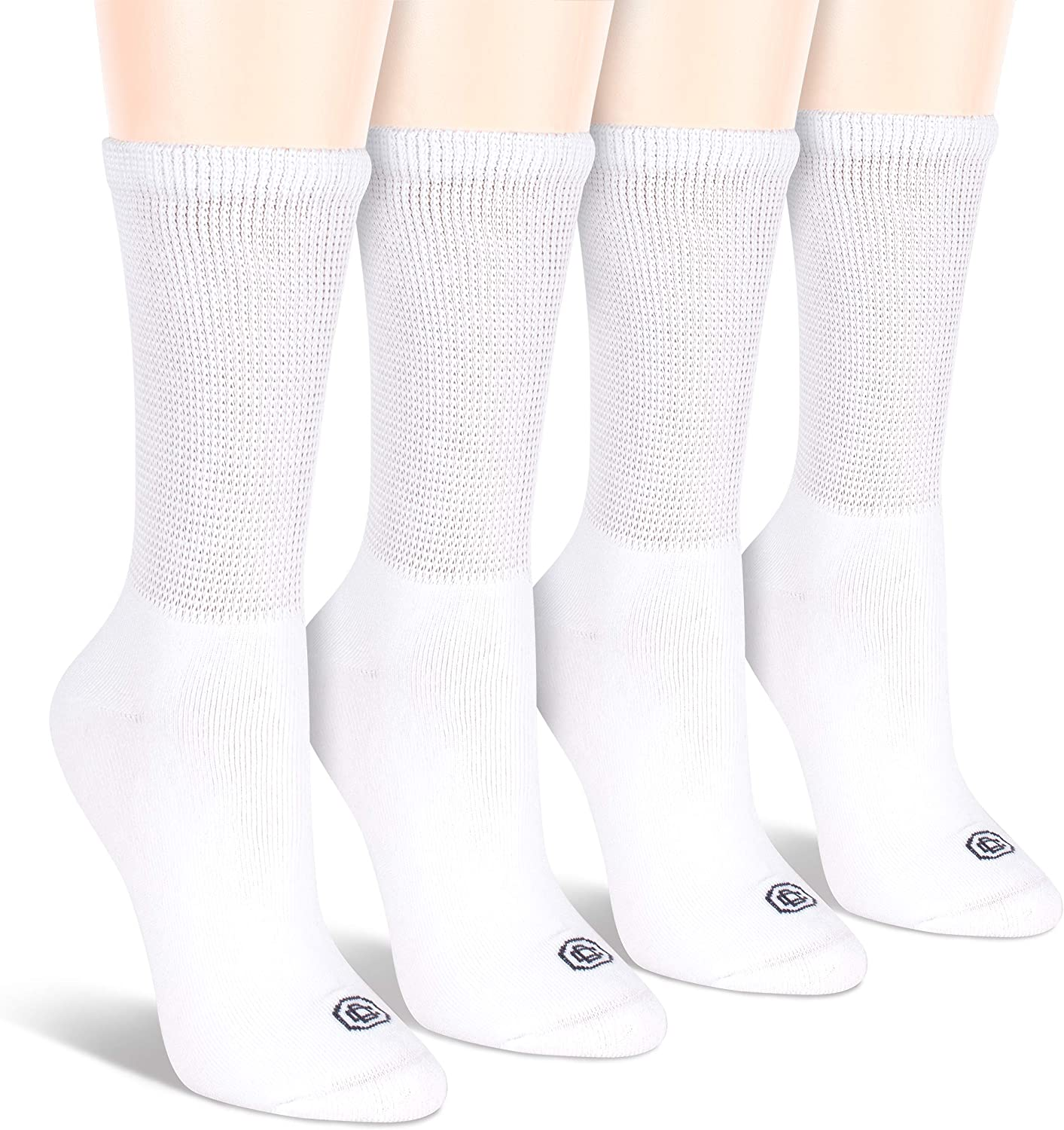 Doctor's Choice Women's Diabetic Crew Socks, Non-Binding, Circulatory, Cushioned, 4 Pack, White, Shoe Size 6-10, Sock Size 9-11: Health & Personal Care