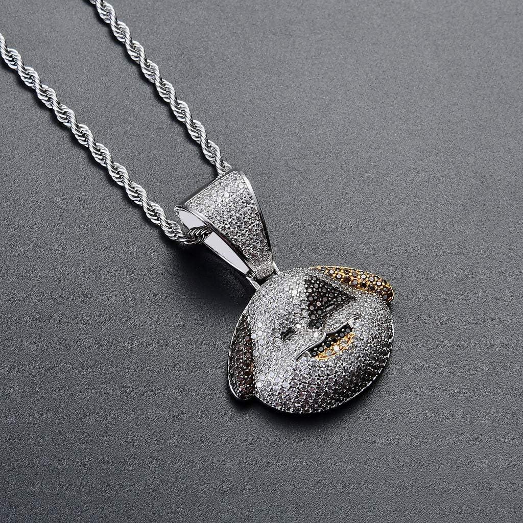 KMASAL 18K Plaqu/é Or Bling CZ Diamant Simul/é Iced Out Piebald Chien Pendentif Collier Hip Hop Cha/îne pour Hommes Charme Cadeaux