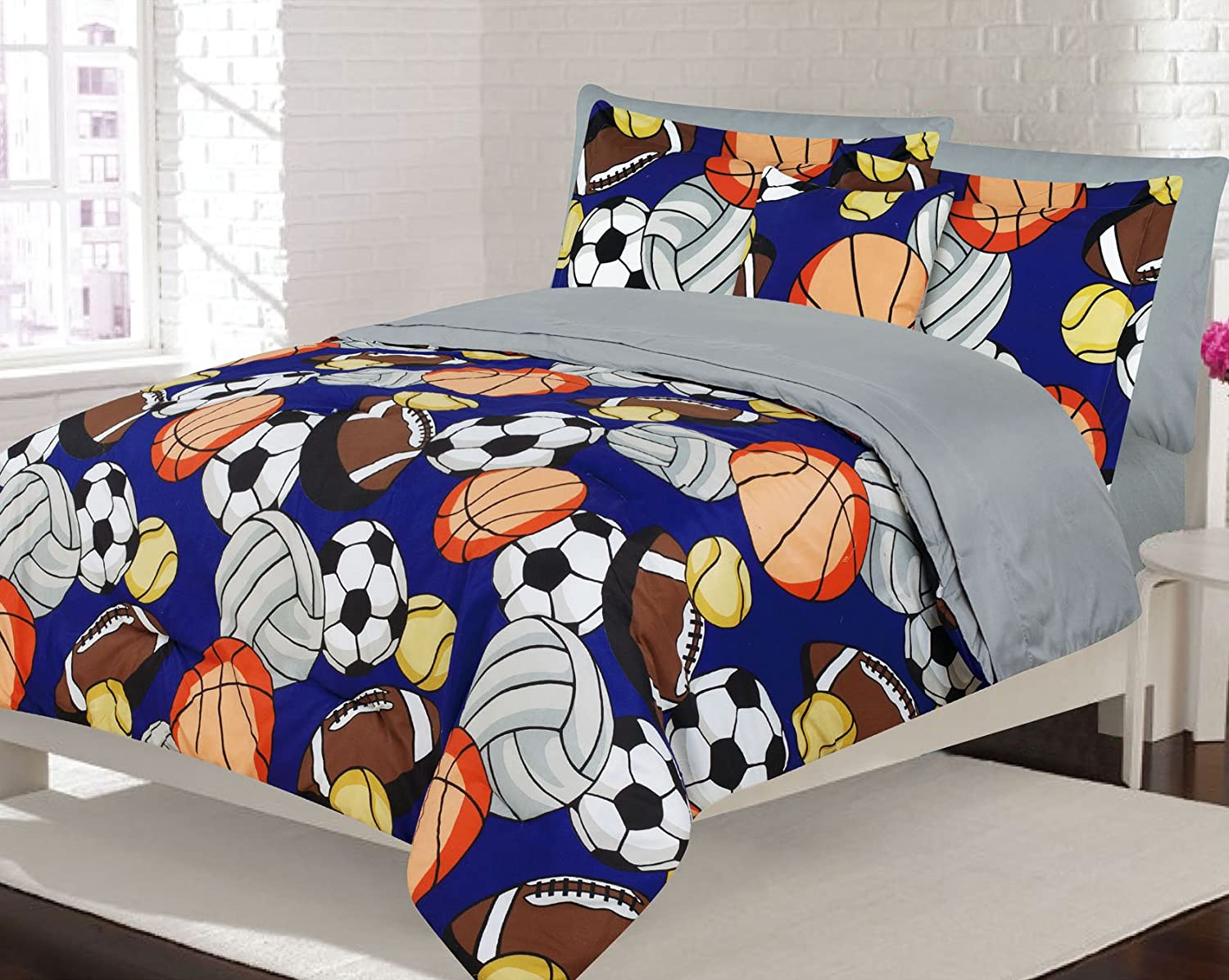 Boys Bedding Full 8 Piece Comforter and Sheet Set, Sports Football Basketball Soccer Tennis