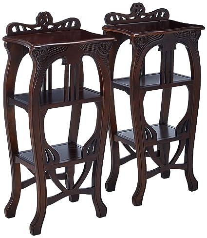 Amazon Com Design Toscano Mahogany Art Nouveau Harp Side Table Set
