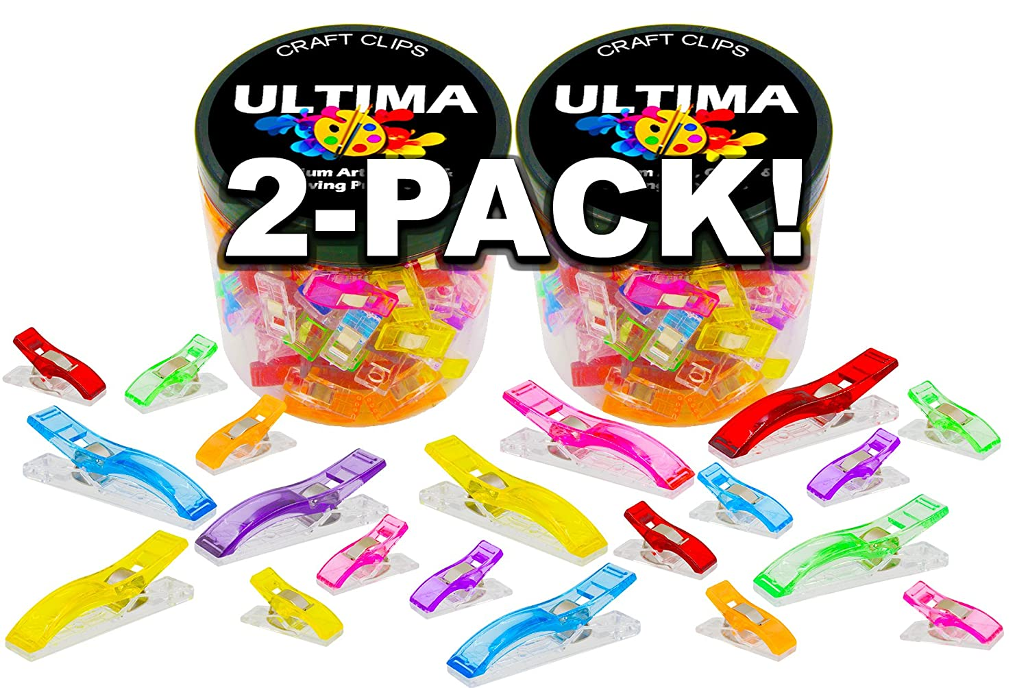 Ultima 200 Craft Clips - 50 Jumbo Clips & 150 Standard - Multicolor Plastic Sewing Clips for Crafting & Quilting - Vibrant Colors - Sewing, Craft, Crochet & Knitting (Two Pack (200 Clips))